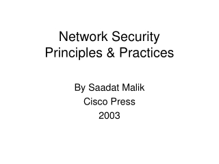 General Security Principles and Practices