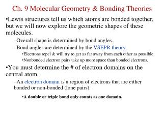 Ch. 9 Molecular Geometry & Bonding Theories