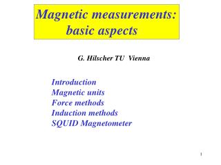Magnetic measurements:          basic aspects