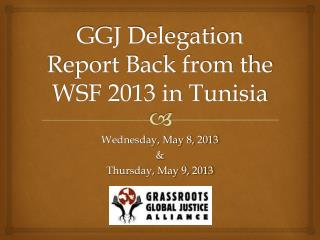 GGJ Delegation Report Back from the WSF 2013 in Tunisia