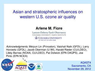 Asian  and stratospheric influences on western U.S. ozone air quality