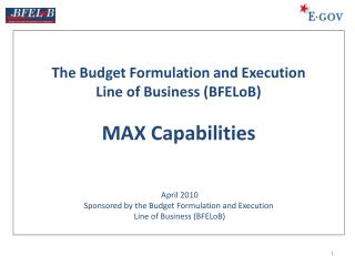 "Shared Services as ""Common Solutions"" of the Budget Formulation & Execution Line of Business"