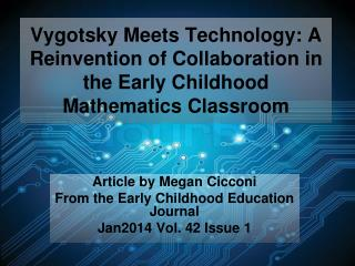 Article by Megan Cicconi From the Early Childhood Education Journal  Jan2014 Vol. 42 Issue 1