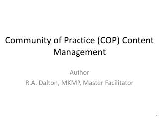 Community of Practice (COP) Content Management