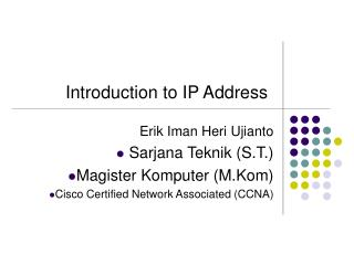 Introduction to IP Address