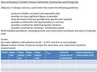 Non-combustion/ Constant Pressure Calorimeter Construction and Testing Lab: