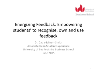 Energizing Feedback: Empowering students' to recognise, own and use feedback