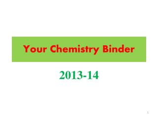 Your Chemistry Binder