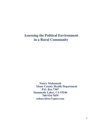 Assessing the Political Environment  in a Rural Community