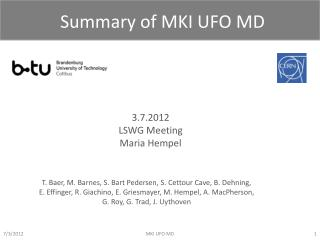 Summary of MKI UFO MD