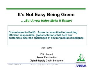 It's Not Easy Being Green … But Arrow Helps Make it Easier!
