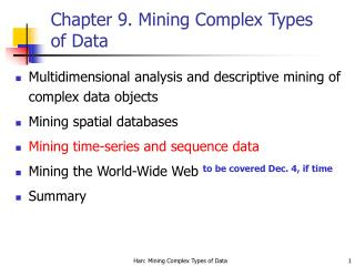 Chapter 9.  Mining Complex Types of Data