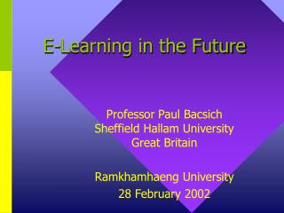 E-Learning in the Future