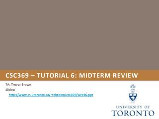 CSC369 – tutorial 6: Midterm review