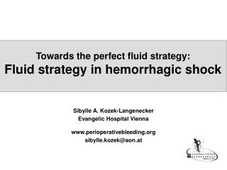 Towards the perfect fluid strategy: Fluid strategy in hemorrhagic shock