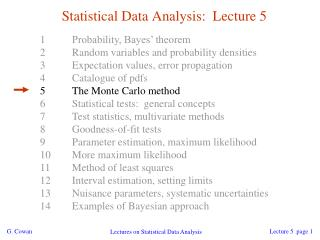 Statistical Data Analysis:  Lecture 5