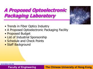A Proposed Optoelectronic Packaging Laboratory
