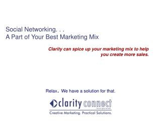 Social Networking. . . A Part of Your Best Marketing Mix