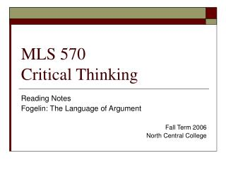MLS 570 Critical Thinking