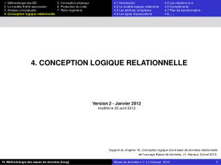 4. CONCEPTION LOGIQUE RELATIONNELLE