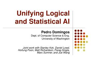 Unifying Logical and Statistical AI