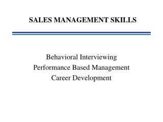 SALES MANAGEMENT SKILLS