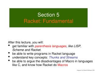 Section 5 Racket: Fundamental