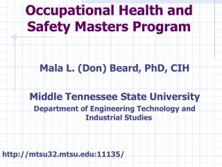 Occupational Health and  Safety Masters Program