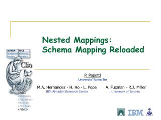 Nested Mappings:  Schema Mapping Reloaded