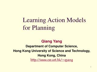 Learning Action Models for Planning