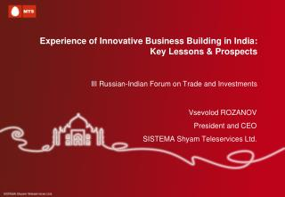 Experience of Innovative Business Building in India: Key Lessons & Prospects