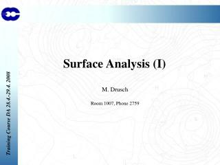 Surface Analysis (I)