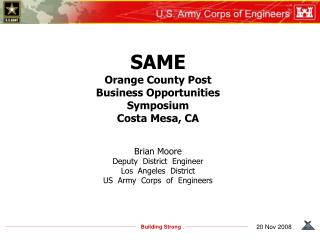 SAME Orange County Post Business Opportunities Symposium Costa Mesa, CA