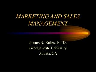 MARKETING AND SALES MANAGEMENT