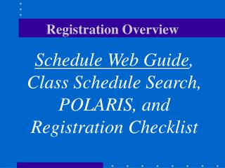 Registration Overview