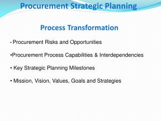 Procurement Strategic Planning  Process Transformation