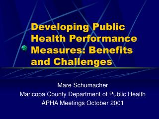 Developing Public Health Performance Measures: Benefits and Challenges