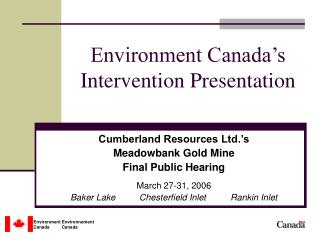Environment Canada's  Intervention Presentation