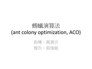 螞蟻演算法 (ant colony optimization, ACO)