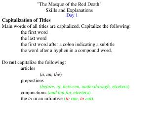 """The Masque of the Red Death""  Skills and Explanations"