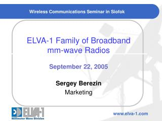 Wireless Communications Seminar in Siofok