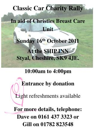 Classic Car Charity Rally In aid of Christies Breast Care  Unit Sunday 16 th  October 2011