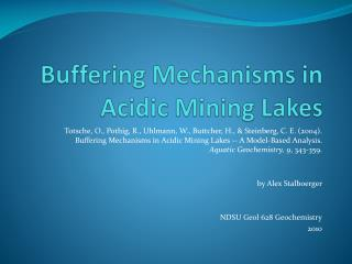 Buffering Mechanisms in Acidic Mining Lakes