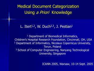 Medical Document Categorization Using  a Priori   Knowledge