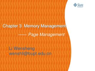 Chapter 3  Memory Management —— Page Management