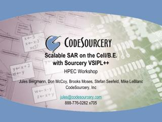 Scalable SAR on the Cell/B.E. with Sourcery VSIPL++