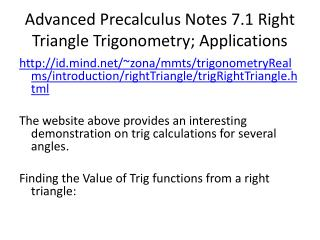 Advanced  Precalculus  Notes 7.1 Right Triangle Trigonometry; Applications