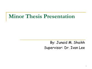 Minor Thesis Presentation