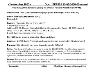 Project: IEEEP802.15 Working Group for Wireless Personal Area Network(WPAN)