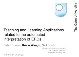 Teaching and Learning Applications related to the automated interpretation of ERDs